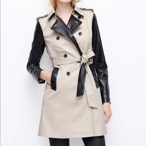 Ann Taylor | Faux Leather Sleeves Trench Coat~S